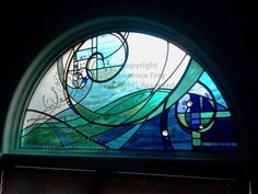Half Round Stained Glass Window by Lawrence Frey Stained Glass Designs, Stained Glass Panels, Stained Glass Projects, Stained Glass Patterns, Leaded Glass, Stained Glass Art, Mosaic Glass, Fused Glass, Half Circle Window