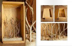 diorama w/ twigs.... you can make twig boxes then hang your onnaments in them for the holidays. then photos or sea shells or whatever the rest of the year....love this idea.