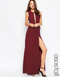 Image 1 ofASOS TALL Slinky Deep Plunge Maxi Dress