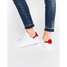 adidas Originals Stan Smith With Red Pony Trim Trainers (380 SAR) ❤ liked on Polyvore featuring shoes, sneakers, vintagewhite, perforated leather shoes, leather shoes, adidas, laced sneakers and perforated sneakers