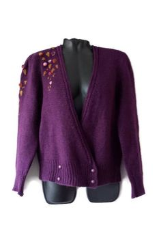 Womens Knit embroidered cardigan Vintage Violet wool jacket Women knit clothes Gift for her Vintage Knitting, Hand Knitting, Pinup, Vintage Outfits, Vintage Clothing, M Color, Wool Sweaters, Sweater Cardigan, Jackets For Women