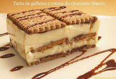 Tarta de galletas y crema de chocolate blanco - MisThermorecetas.com