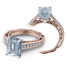 Diamond Bridal Wedding Ring Set - Rose Gold