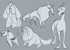 I always end up liking my sketches better, so here's the sketches for the beagle I posted last night.