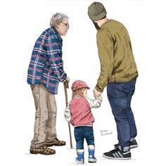 """Jenna Kunnas, """"The elderly in suburbs"""" editorial illustration for Yliopisto magazine, University of Helsinki, 2016"""