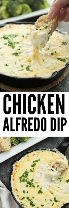 Chicken Alfredo dip that would be perfect for an appetizer or a quick lunch/dinner. #chickenfoodrecipes