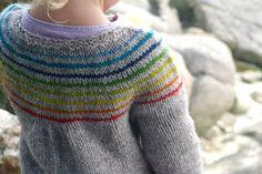 Ravelry: Demoiselle Arc-en-ciel (Little Miss Rainbow) pattern by Solenn Couix-Loarer Knitting For Kids, Crochet For Kids, Baby Knitting, Knit Crochet, Rainbow Cardigan, Ravelry, How To Purl Knit, Knitting Patterns, Knitting Ideas