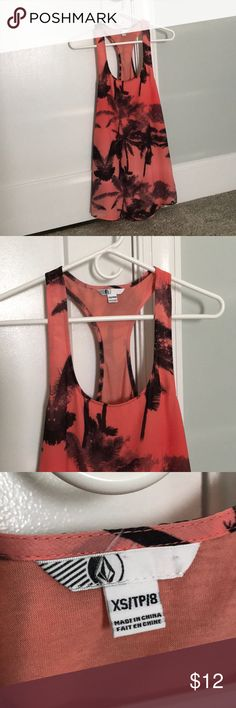 """Volcom Racerback Summer Dress XS Beautiful palm tree black and orange/coral colored summer dress. 100% polyester, but feels like silk, outer shell and soft inner lining. I never wore it, only washed once. It is just a bit short for me. I'm 5'2"""" and it falls on my mid thigh. Volcom Dresses"""