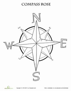Which way is which? Teach your little navigator the basic compass directions with this compass rose coloring page.