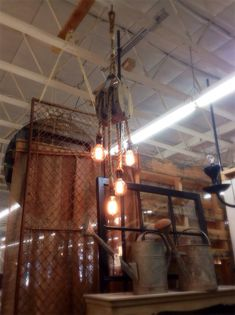 Antique Pulley light w/4 rope pendants and Edison by CitizenLight, $350.00