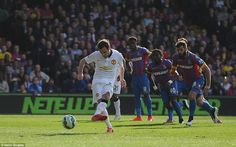 Juan Mata takes over the penalty duties after recent failures from the spot to give Manchester United a lead over Crystal Palace Manchester United 2014, Thing 1, Soccer News, Crystal Palace, Devil, The Unit, Football, Sports, Juan Mata