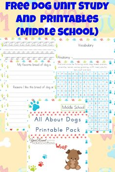 Free Dog Unit Study and Printables (Middle School) - http://www.yearroundhomeschooling.com/free-dog-unit-study-and-printables-middle-school/
