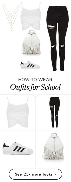 """School"" by erillweiss on Polyvore featuring Topshop, adidas, Rebecca Minkoff and Forever 21"