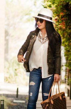 cute & little blog | petite fashion | j.crew downtown field jacket, baublebar grendel bib, distressed jeans, panama hat, leopard pumps, lv neverfull mm | spring outfit