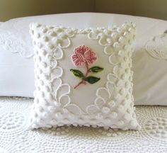 Pink pillow cover ONE ROSE vintage chenille pink cushion cover cottage chic shabby style.ONE ROSE vintage chenille pillow cover -- reminds me of mom who loved chenille bedding.ONE ROSE vintage chenille pillow cover, our grandmother Forman used to have pil Pink Cushion Covers, Pink Cushions, Chenille Crafts, Crochet Pillow Pattern, Pillow Patterns, Chenille Bedspread, Bedspreads, Sewing Pillows, Decorative Pillows