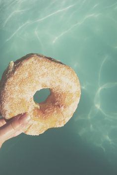 Sugar donut by the blue pool