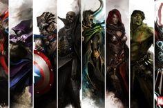 The Avengers Iron Man Nick Fury Hawkeye Hulk Thor Marvel Captain America Loki Black Widow