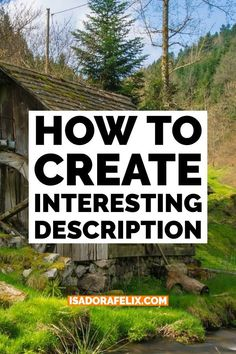 How to Create Interesting Description Learn how to write a book, how to start writing a book for beginners, how to finish writing a story, and more. Writer Tips, Book Writing Tips, Writing Quotes, Fiction Writing, Writing Resources, Writing Help, Writing Prompts, Start Writing, Quotes Quotes