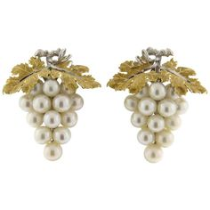 For Sale on - A pair of yellow and white gold grape vine earrings set with - pearls. Crafted by Buccellati, the earrings measure x and weigh Black Hills Gold Jewelry, Real Gold Jewelry, Pearl Jewelry, Body Jewelry, Antique Jewelry, Gold Jewellery, Jewelery, Vintage Earrings, Gold Earrings