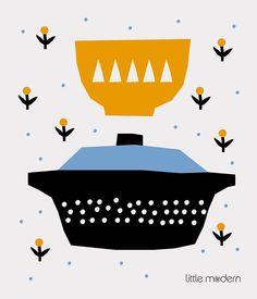 Anna Kovecses illustration for Little Modern's dishcloths