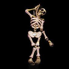 VTG Style Skull Clear AB Rhinestone Crystal Brooch Pin Halloween Skeleton
