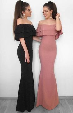 Mermaid Off Shoulder Prom Dress,Chiffon Prom Dress,Sexy Prom