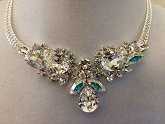 Clear Crystal Bridal Teardrop Bib Necklace - Swarovski Crystal - in stock & ready to ship