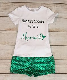 Loving this White & Green 'Today I Choose ' Tee & Shorts - Infant & Kids on #zulily! #zulilyfinds