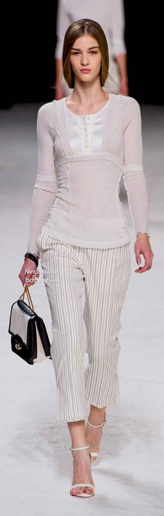 Nina Ricci Primavera 2014 - love the light cottony fabrics, barely there stripes and monotone, simplicity of this look.