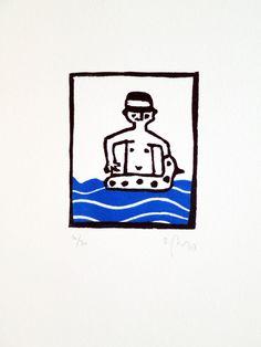 Baigneur au canard bouée vague mer vacances par auboutdubanc gravure par Sandrine Péron  Prix 25 € sur www.etsy.com/shop/auboutdubanc