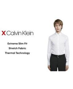 Calvin Klein X Men's Extra-Slim Fit Thermal Stretch Performance Royal Blue Print Dress Shirt - Blue 17-17 1/2 36-37