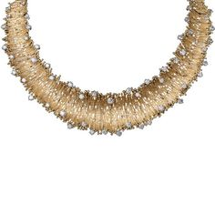 Crima Creations LEI' NECKLACE, 2011 Modelled after the original 'Lei' Necklace, winner of the De Beers Diamonds International Awards in 1965 and the Duke of Edinburgh Prize for Elegant Design in 1966, modelled by Bond Girl Ursula Andress, this necklace was made by the same master goldsmith in Yellow Gold textured wire and set with 16.84 carats of brilliant-cut Diamonds