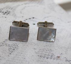 Vintage Cufflinks Mother of Pearl Sterling Silver Cufflinks Cuff Links Wedding Jewelry Prom Cufflinks by TreasuresFromUs on Etsy