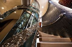 One of the staircase about the Nirvana, a spectacular yacht by Oceanco. Nirvana, Ibiza, Glass Lift, Elevator Design, Big Yachts, South Of Spain, Stairway To Heaven, Marina Bay, Luxury Lifestyle