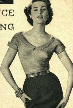 Vintage 1950s knitting pattern  deep v necked by VintageKnitCircle