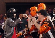 University of Alabama cornerback Dre Kirkpatrick, the 17th pick in the NFL Draft by The Cincinnati Bengals celebrating with fans.