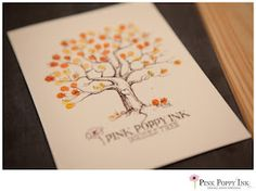 Scan in the tree image when your wedding is over and use graphic for custom made thank you cards. Then your guests can see the finished artwork they helped create! Tree Images, Pink Poppies, In The Tree, Wedding Guest Book, Fun Ideas, Thank You Cards, Wedding Invitations, Arts And Crafts, Stationery