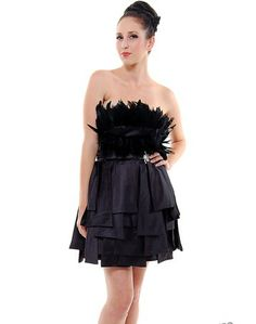Black Feather Short Strapless Glam Cocktail Dress