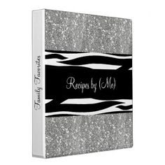 Personalized Silver Glitter Zebra Striped Recipe Binders Personalized Silver Glitter Zebra Striped Recipe Cookbook #personalized #silver #glitter #glittery #zebra #striped #black #and #white #recipe #cookbook #binder...