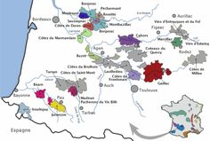 Cahors is the park purple region in the middle of the map, see how it is almost parallel to Bordeaux.