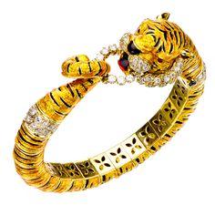 Bengal Tiger Enamel Diamond Yellow Gold Hinged Bracelet