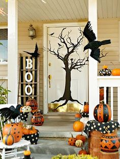 fall decorating i love the painted pumpkins and boo and all the rest halloween front porchesfall front