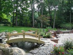 Pond with Bridge - Home and Garden Design Idea's