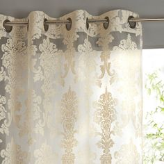 Arabesque Damask Single Voile Panel with Eyelet Header La Redoute Interieurs : price, reviews and rating, delivery. Damask jacquard single voile panel. Subtly playing with the light so prettily, this damask single voile panel is the perfect pick for a stunning window dressing.Damask jacquard voile panel:Aged metallic eyelet header.Stitched hem.Damask jacquard voile panel :60% polyester, 30% viscose, 10% linen jacquard.Washable at 40°C. See our entire voile panel & curtain col...