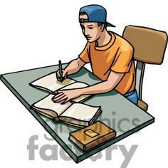 Cartoon student studying at his desk clipart Commercial use clipart # 382672 Student studying Student Clip art