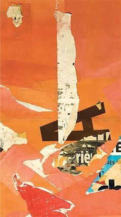 Stephen T. Johnson, Arrangement No. 1, 2002-2006, collage mounted on canvas, 19 ½ x 10 inches.