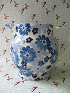Emma Bridgewater Studio Special Blue Flower 1.5 Pint Jug for Collectors Day 2011
