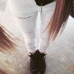high waist ripped jeans.