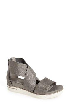 Eileen Fisher 'Sport' Platform Sandal leather pewter, black 2h sz7.5 195.00