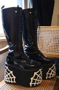 Amazing DIY Platform Deathrock Shiny Black Vinyl Boots Spider Webs Club Goth Dark Punk by CoffinKitsch on Etsy https://www.etsy.com/listing/124109946/amazing-diy-platform-deathrock-shiny